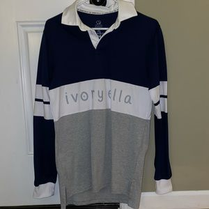 Ivory Ella navy blue, grey, and white rugby